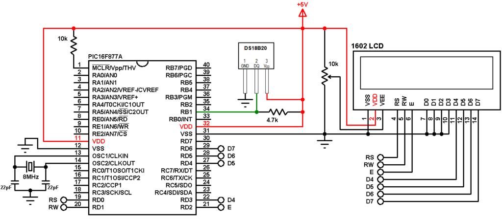 PIC16F877A DS18B20 sensor 16x2 LCD circuit