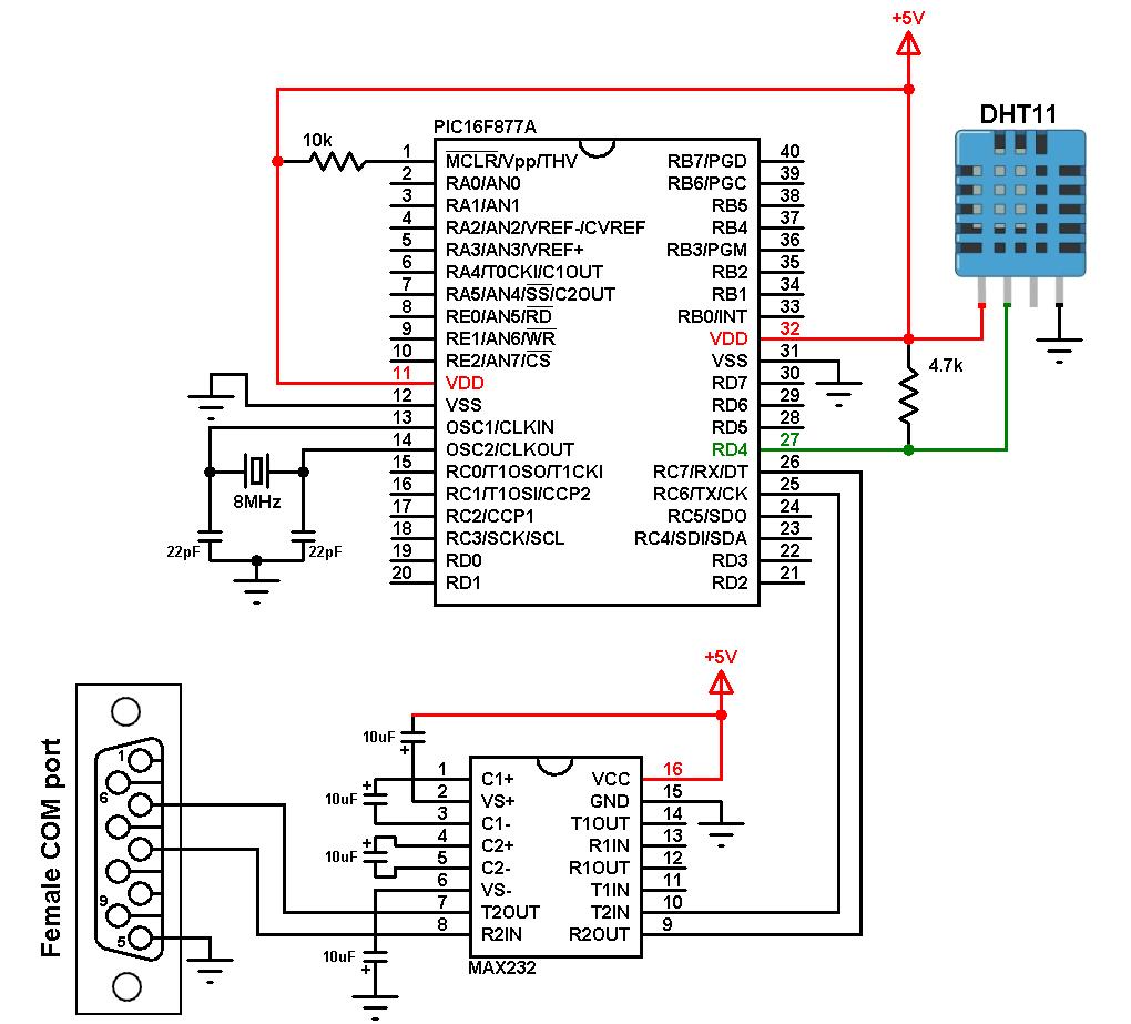 PIC16F877A Excel data logger DHT11 sensor