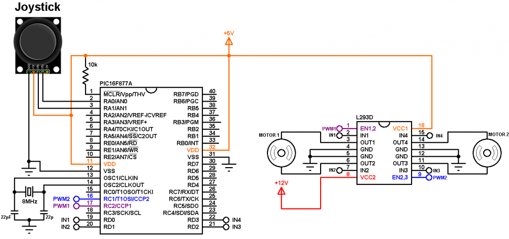 PIC16F877A joystick controlled DC motor circuit