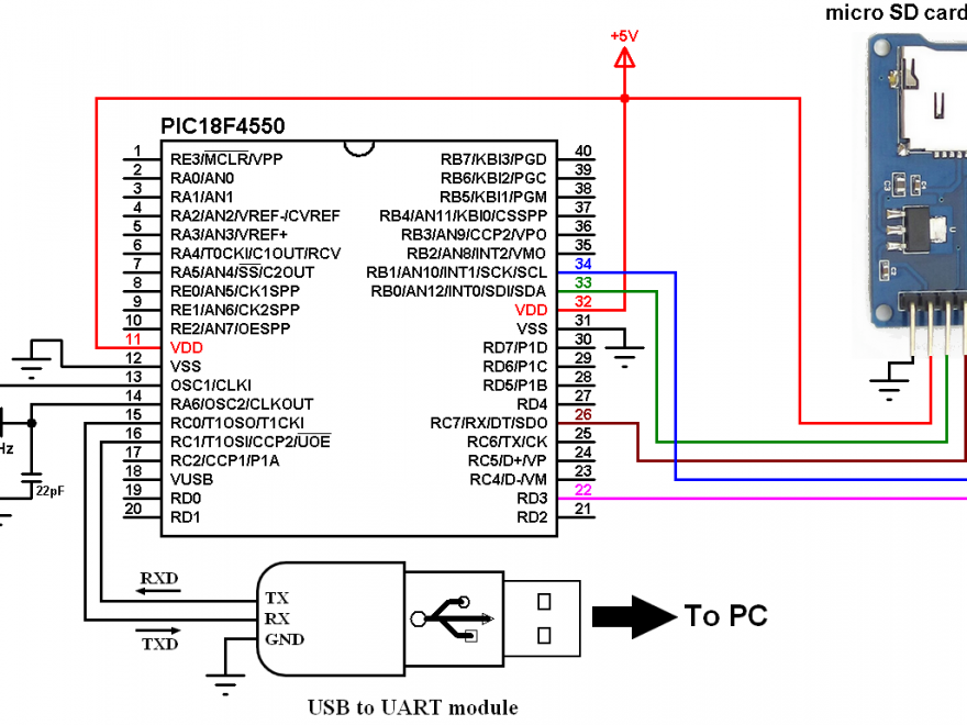 PIC18F4550 SD card read and write files with micro sd card module