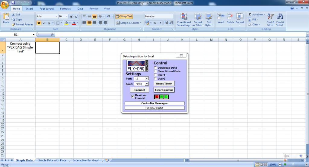 PLX-DAQ Excel startup window