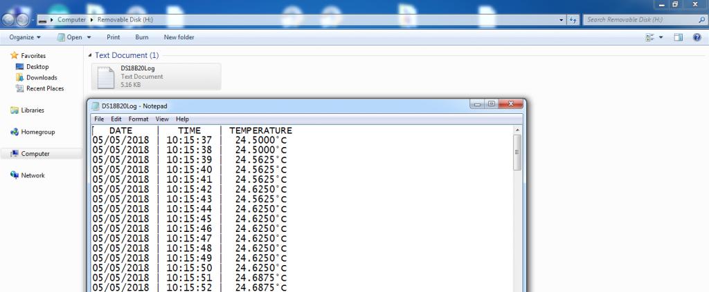 DS18B20 datalogger result