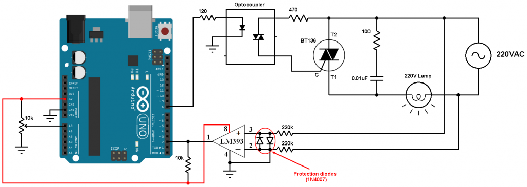Arduino light dimmer circuit