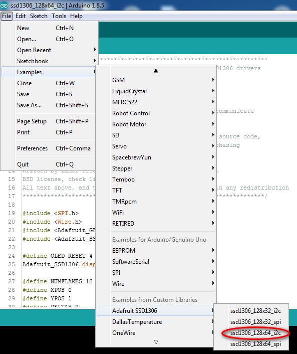 adafruit SSD1306 I2C example