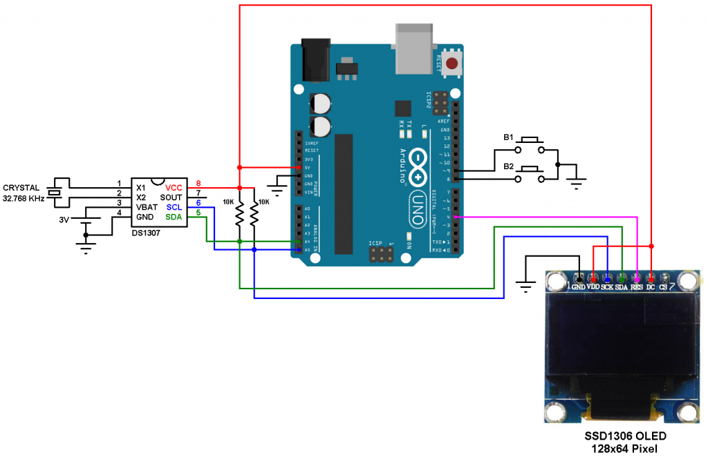 arduino ds1307 ssd1306 oled real time clock