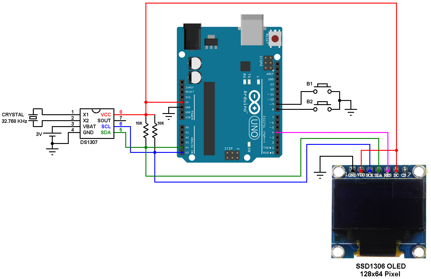 Arduino real time clock using DS1307 and SSD1306 OLED