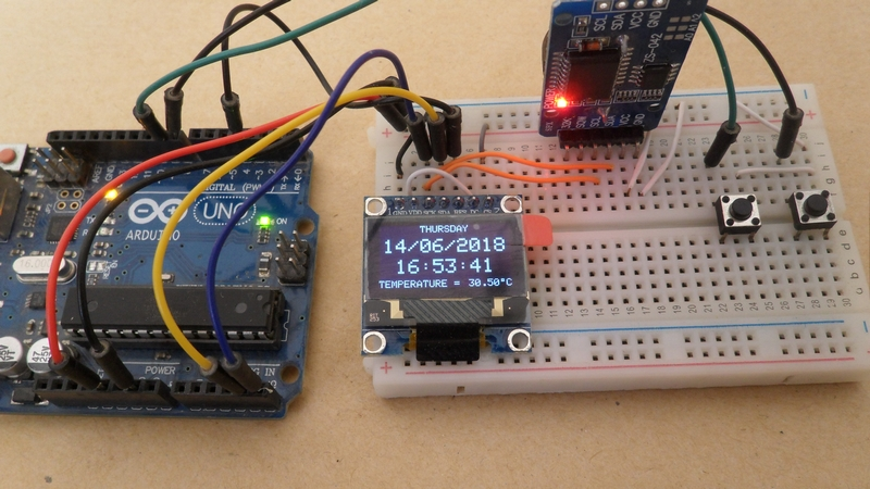 Arduino with SSD1306 OLED and DS3231 RTC circuit