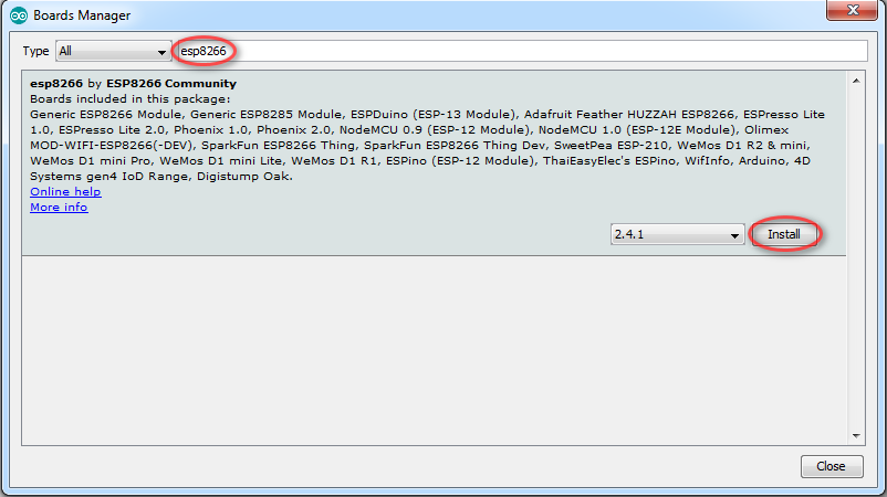arduino ide install esp8266 board