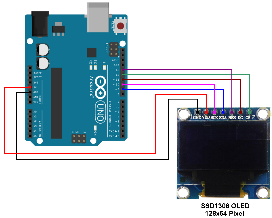 Arduino SSD1306 OLED in SPI mode circuit