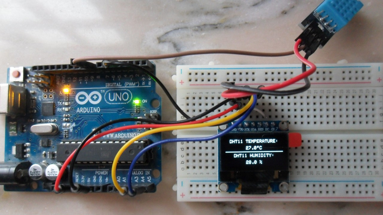 Arduino with SSD1306 OLED and DHT11/DHT22 sensor - Simple Projects