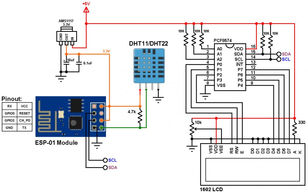 ESP8266 ESP-01 DHT11 DHT22 sensor circuit