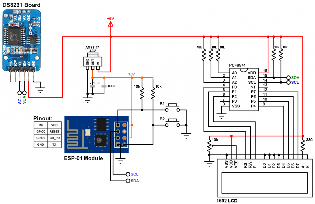 ESP8266 ESP-01 DS3231 RTC, DS1307 RTC, I2C LCD, push button circuit