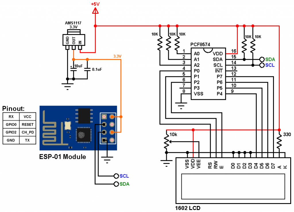 ESP8266 ESP-01 Internet clock circuit with I2C LCD