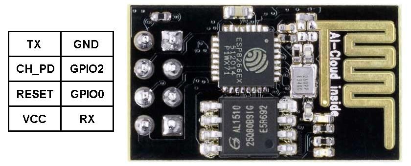 ESP8266 ESP-01 pinout