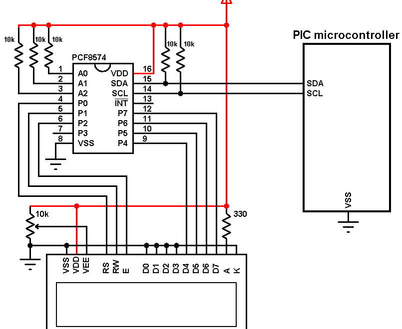 PIC microcontroller I2C LCD with PCF8574 expander