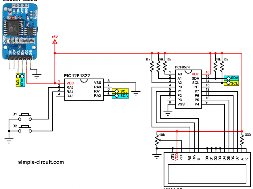 PIC12F1822 DS3231 I2C LCD circuit