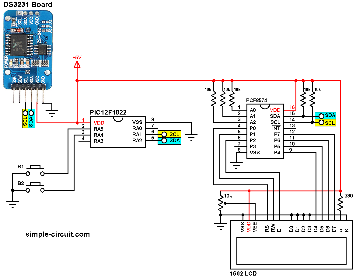 PIC MCU with I2C LCD and DS3231/DS1307 RTC | mikroC Projects