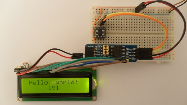 PIC12F1822 MCU with I2C LCD circuit