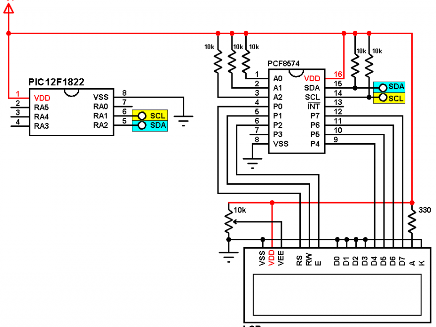 PIC12F1822 I2C LCD circuit with PCF8574