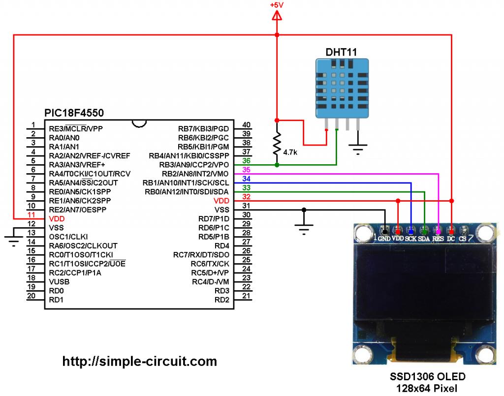 PIC18F4550 SSD1306 DHT11 sensor circuit
