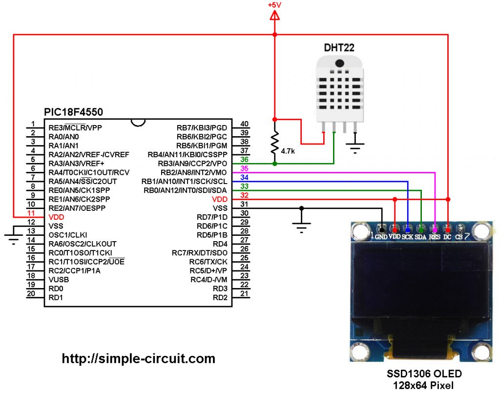PIC18F4550 SSD1306 DHT22 AM2302 sensor