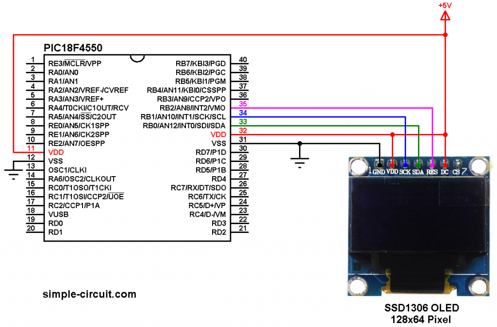 PIC18F4550 SSD1306 OLED display circuit