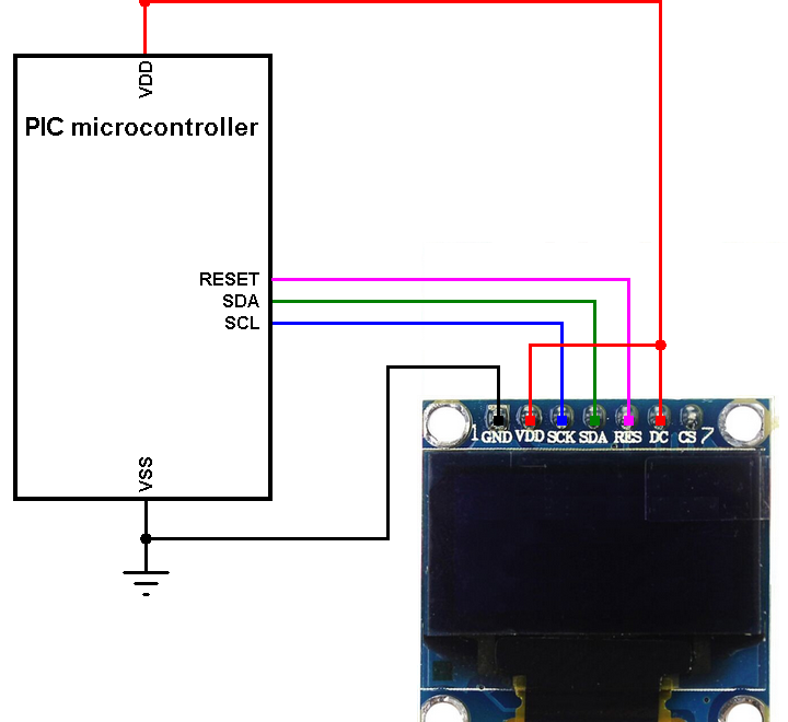 PIC microcontroller with SSD1306 OLED circuit connection