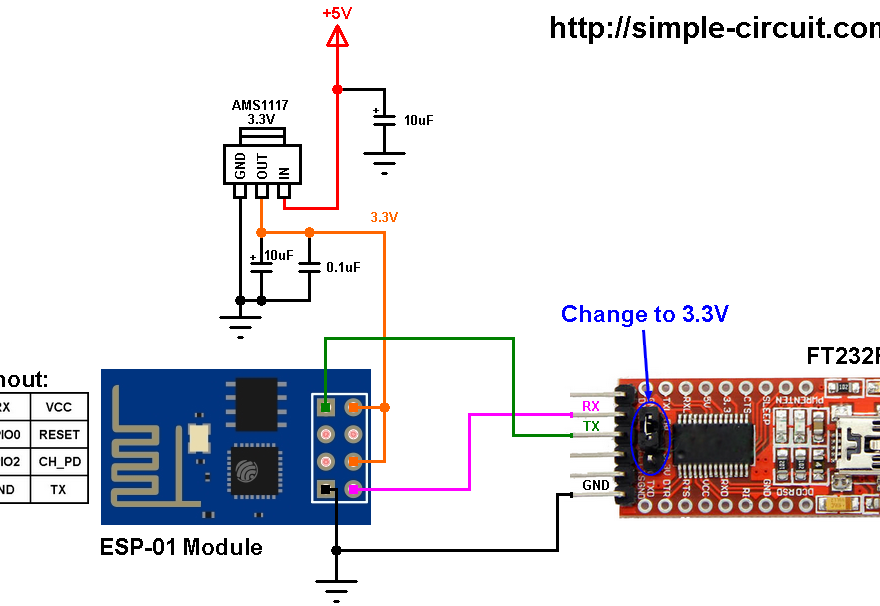 IoT projects ESP-01 ESP8266 internet weather station circuit