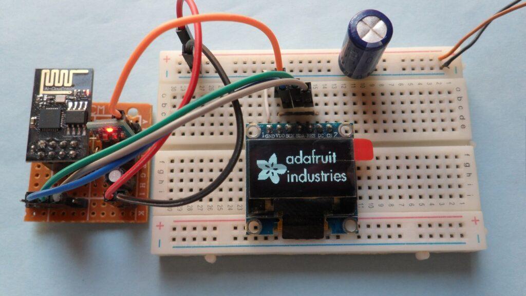 ESP8266 ESP-01 SSD1306 OLED I2C mode circuit