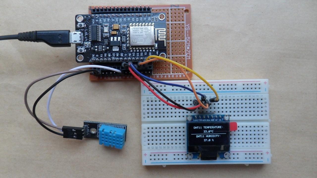ESP8266 NodeMCU interfacing with DHT11 sensor and SSD1306