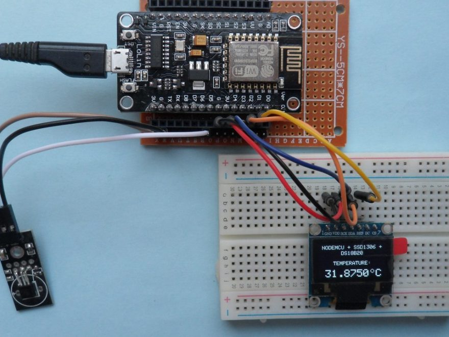 ESP-12E NodeMCU with SSD1306 OLED and DS18B20 sensor
