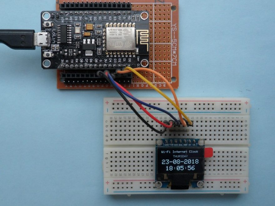 ESP8266 NodeMCU internet clock with SSD1306 OLED display