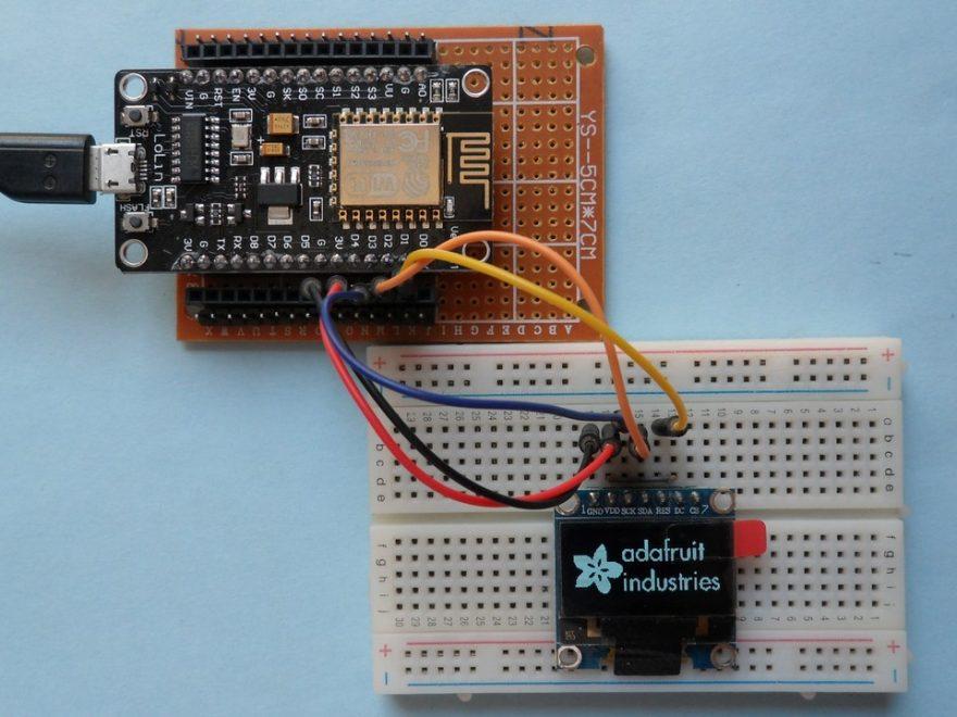 ESP-12E NodeMCU SSD1306 OLED display hardware circuit