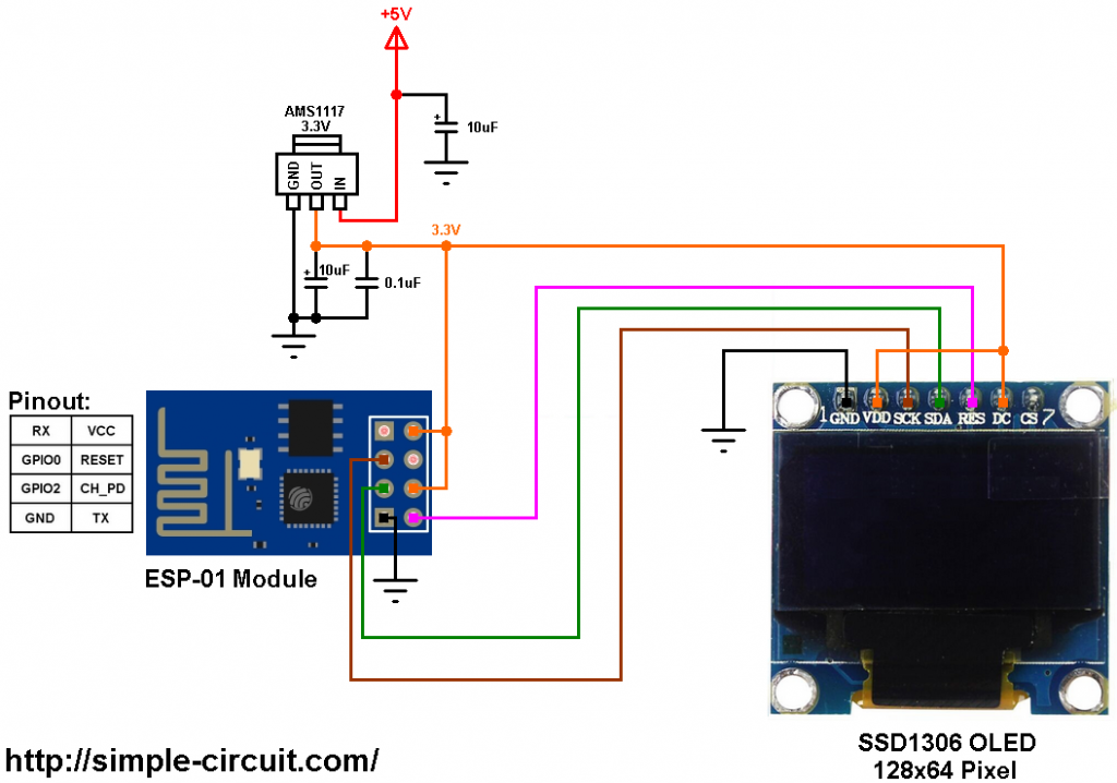 ESP-01 ESP8266 SSD1306 OLED in I2C mode