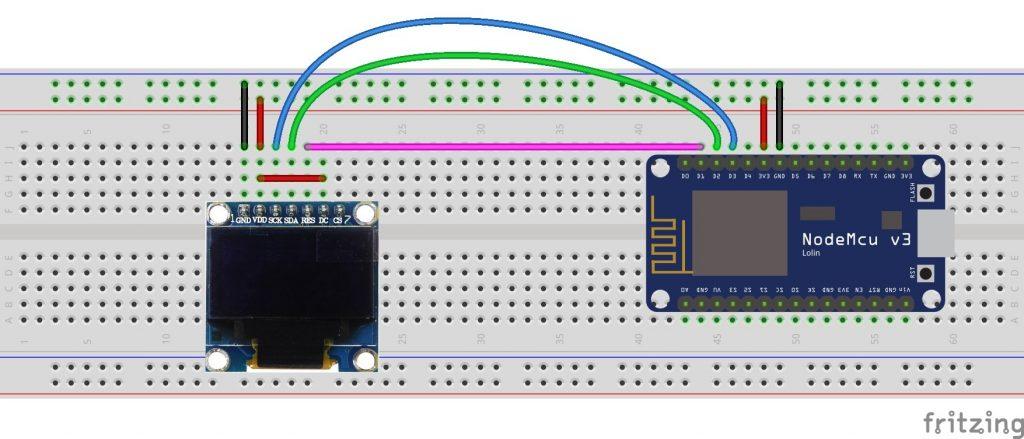 ESP8266 ESP-12E nodeMCU SSD1306 OLED display fritzing circuit