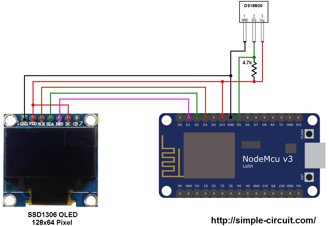 ESP8266 NodeMCU DS18B20 SSD1306 OLED circuit