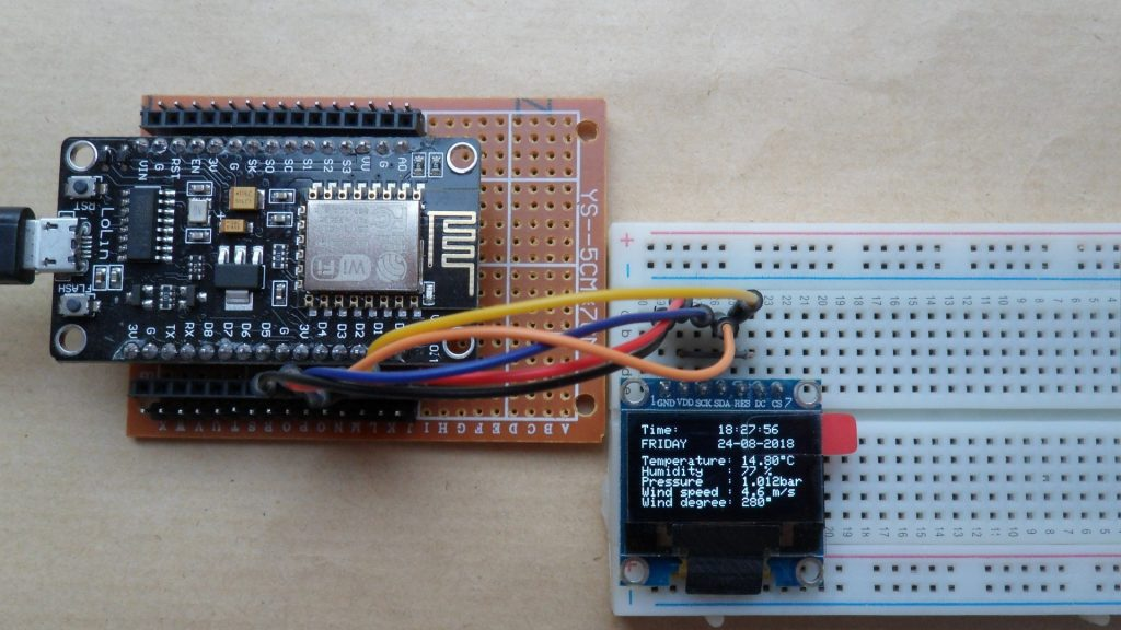 ESP8266 NodeMCU Internet clock and weather station