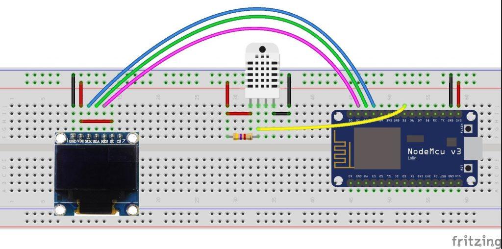 ESP8266 NodeMCU SSD1306 OLED DHT11 AM2302 fritzing circuit