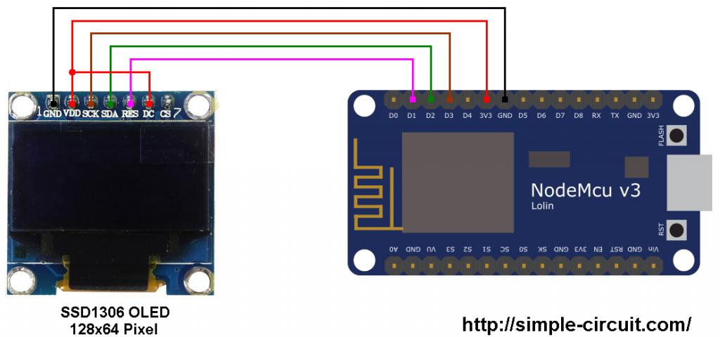 ESP8266 ESP-12E nodeMCU SSD1306 OLED display circuit