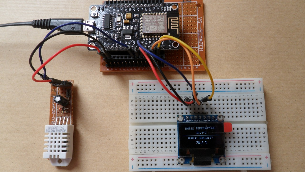Interfacing NodeMCU with DHT22 sensor and SSD1306 OLED - Simple Projects