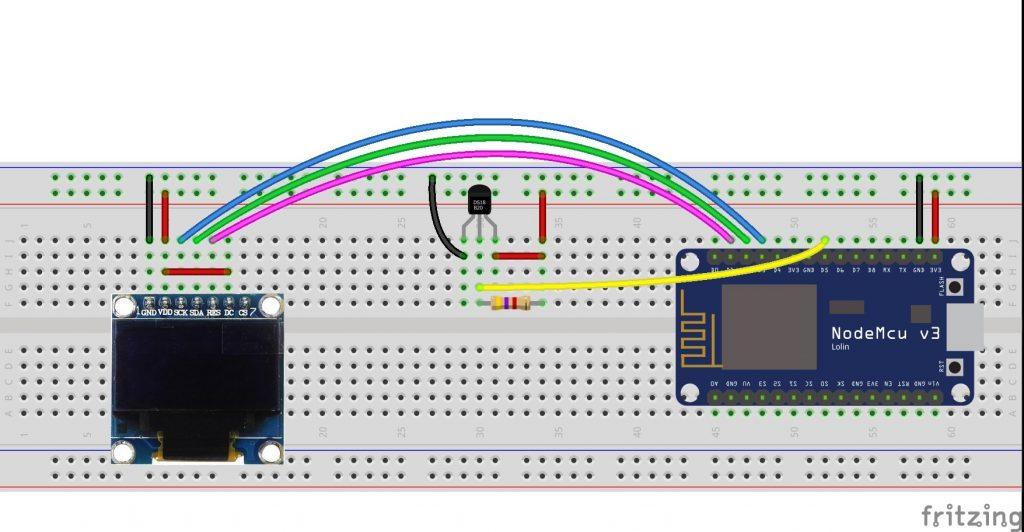 ESP8266 NodeMCU SSD1306 OLED DS18B20 fritzing circuit