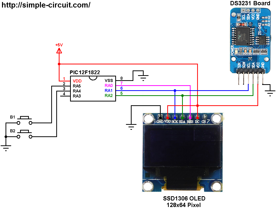 Real Time Clock With Pic12f1822 Ssd1306 Oled And Ds3231 Rtc Ds1307 Circuit Mikroc Set Buttons