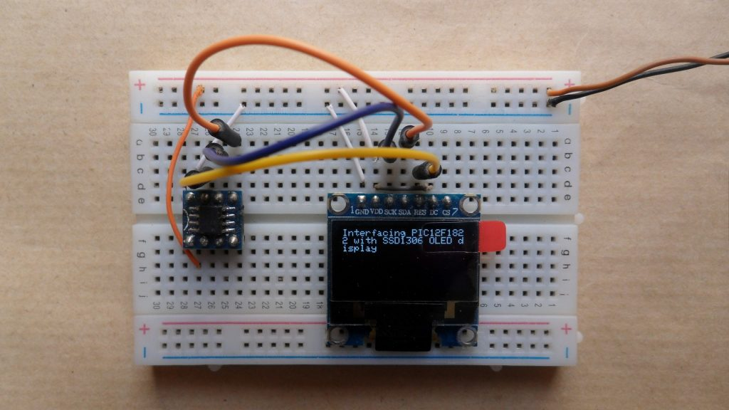 PIC12F1822 MCU with IIC I2C SSD1306 OLED display