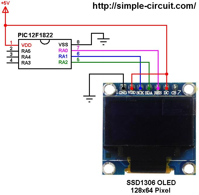 PIC12F1822 SSD1306 OLED dsiplay IIC I2C mode
