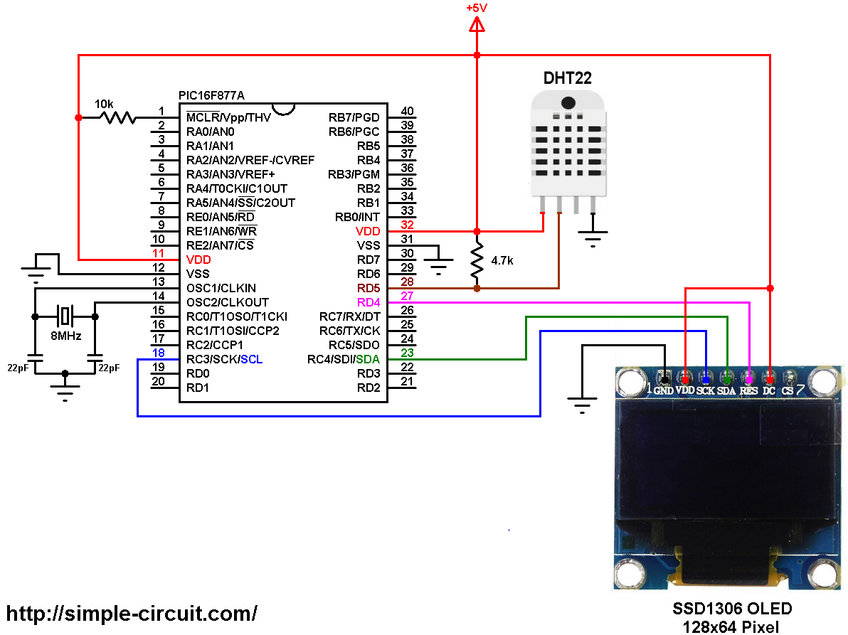 Pic16f877a With Dht22 Am2302 Sensor And Ssd1306 Oled Display Rc4 Wiring Diagram