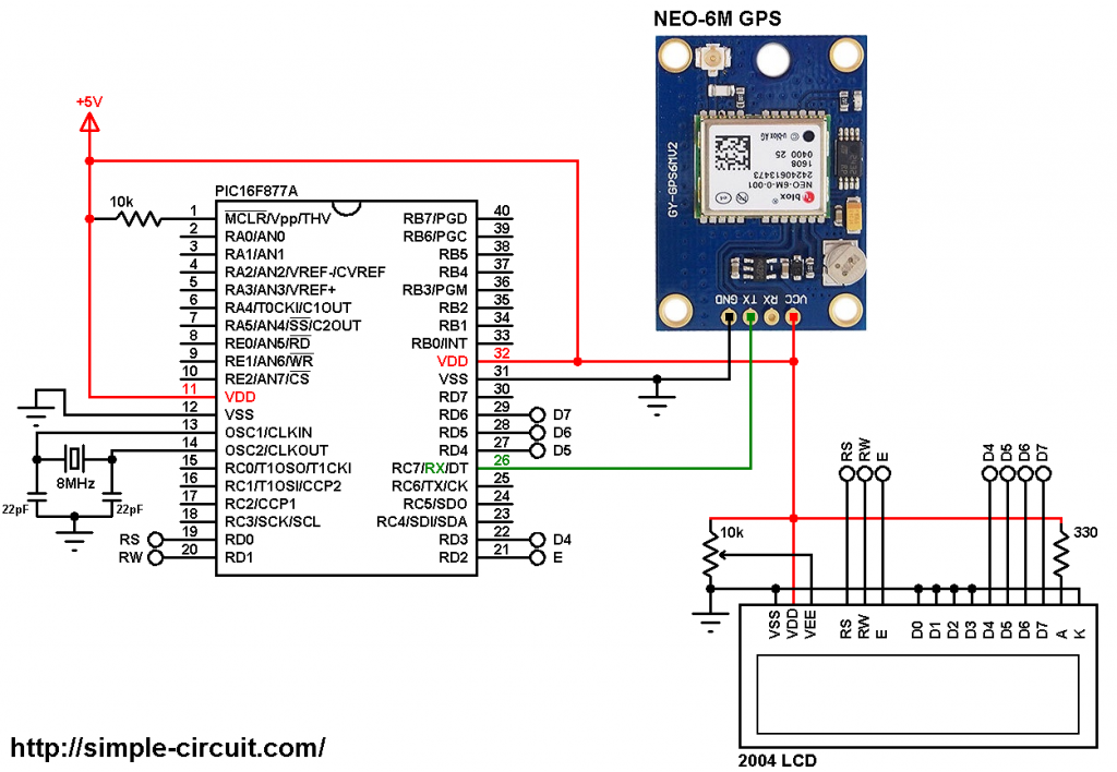 PIC16F877A GPS clock NEO-6M GPS module 20x4 LCD