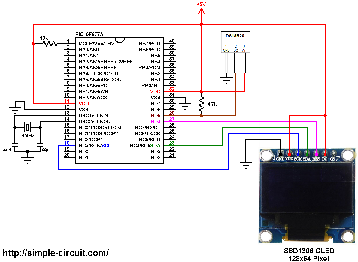 Temperature monitor with PIC16F877A, SSD1306 and DS18B20 sensor