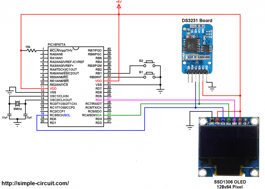 PIC16F877A SSD1306 DS3231 real time clock with OLED display