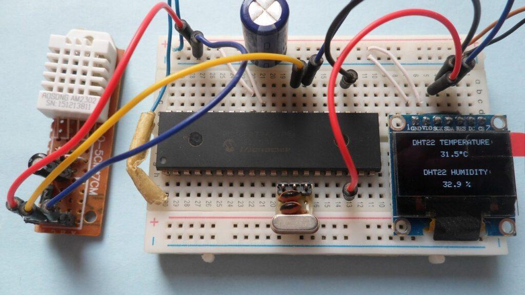 PIC16F877A SSD1306 OLED DHT22 (AM2302, RHT03)
