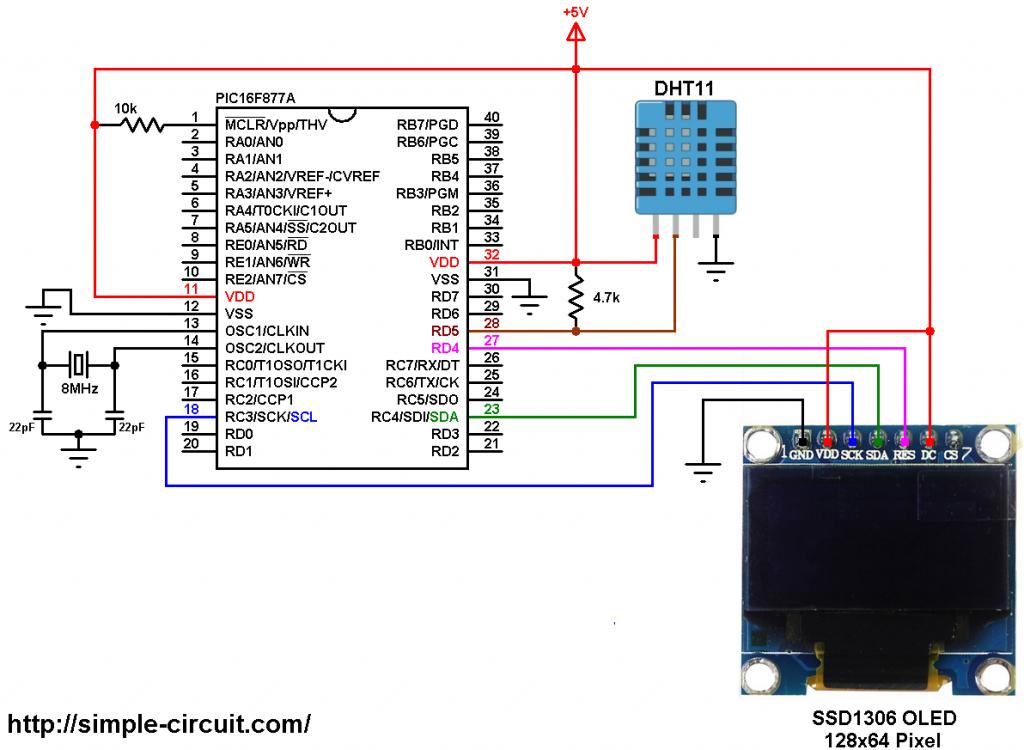 PIC16F877A SSD1306 OLED DHT11 sensor